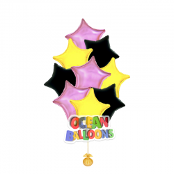 Яркий букет из 15 фольгированных шаров «Звезды»