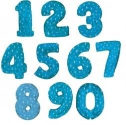 Шары Синие Цифры из фольги