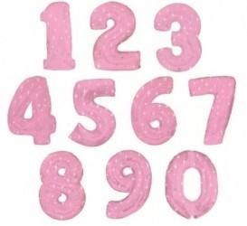 Шары Розовые Цифры из фольги