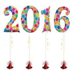 Фольгированные цифры «2016» на новый год звезды.