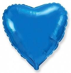 Фольгированный Сердце, Синий.