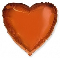 Фольгированный Сердце, Оранжевый.