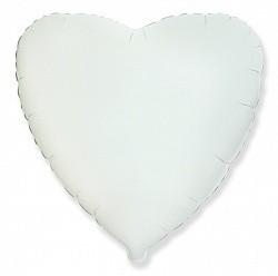 Фольгированный Сердце, Белый.