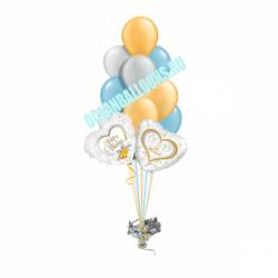Свадебный букет «We Married» из 30 воздушных шаров и 2 шаров в виде сердца