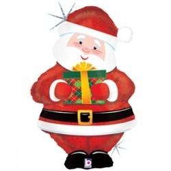 Фольгированный шарик Дед мороз с подарком