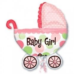 Шар фигура Коляска детская для девочки розовая