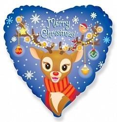 Шар фольгированный Сердце, Рождественский Олененок