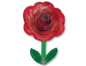 Шар роза со стеблем в подарок женщине