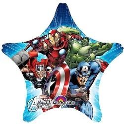 Фольгированная большая звезда с Супер Героями  Мстители