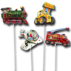 Воздушные шары на палочках в виде различной техники