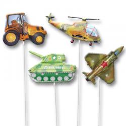 Воздушные шарики на палочке в виде военной техники