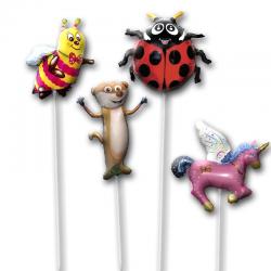 Воздушные шарики на палочке с изображением различных зверей